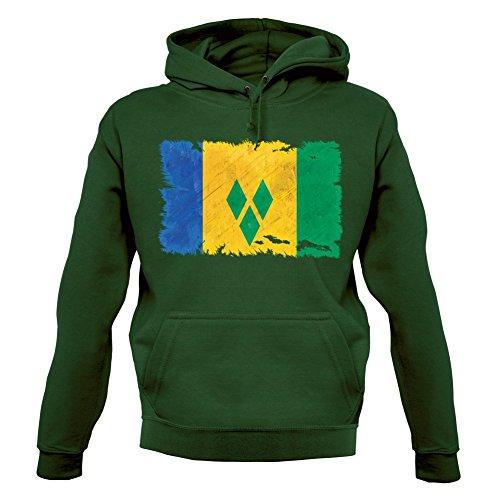 Saint Vincent and the Grenadines / St. Vincent und die Grenadinen Flagge im Grunge-Stil - Unisex Hoodie/Kapuzenpullover - Flaschengrün - XXL