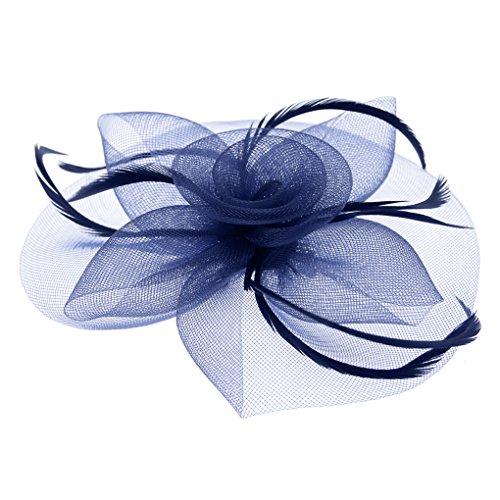 JIAHG Braut Fascinator Blumen Netz Kopfschmuck Damen Haar Clip Hut Feder Haarschmuck Kopfbedeckung für Party Kirche Hochzeit Cocktail (Baby-halloween-kostüm Alte Frau)