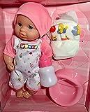 Baby Puppe. Macht Pipi. 4-teilig. Mit großer Tasche zum Umhängen, rosa, Windel und Topf. Tolles Geschenk für Kleinkinder Kinder