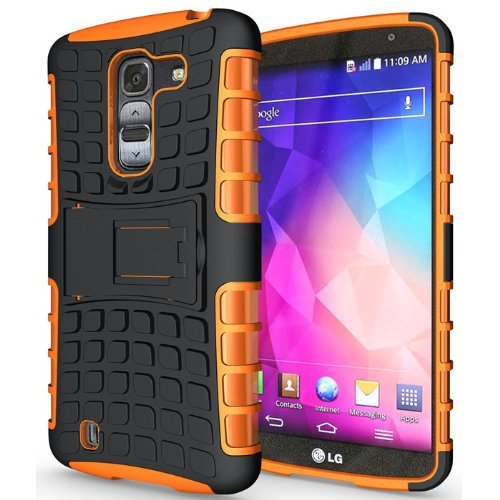 Heartly Flip Kick Stand Hard Dual Armor Hybrid Bumper Back Case Cover For LG G Pro 2 - Orange  available at amazon for Rs.399