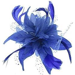 Azul Flor Estrella Tocado con Azul Francia Plumas En peineta para Especiales Salidas