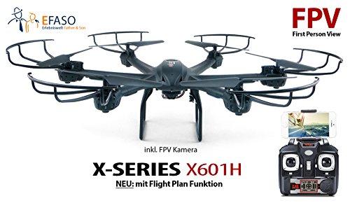 efaso FPV Hexacopter MJX X601H - 2,4 GHz WiFi Drohne mit Liveübertragung auf Smartphones, Kamera, Höhenbarometer, One-Key-Return Funktion, Headless Mode, Flugroutenplanung,Virtual Reality 3D fähig, Rotorschutz und LED Beleuchtung