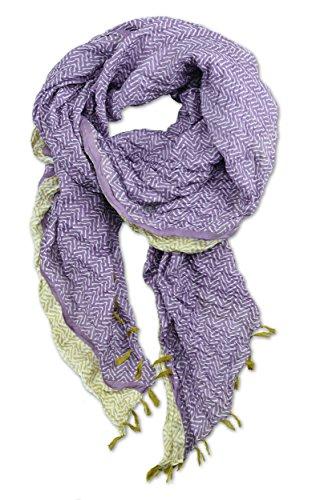 Sarah & Sally Lifestyle Schal lila, 100% Baumwolle mit senffarbenen Fransen, farbigem Vintage-Motivdruck, besonders lange XXL Ausführung (200 x 100 cm), oversize Nr.67 (Farbige Seide Baumwolle Schal)