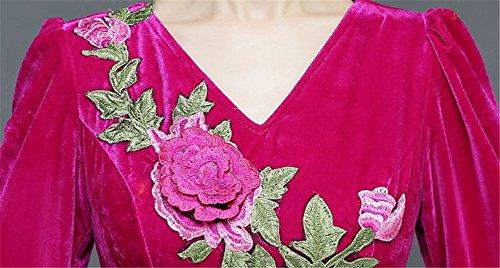 Drasawee Damen Empire Kleid rosy red