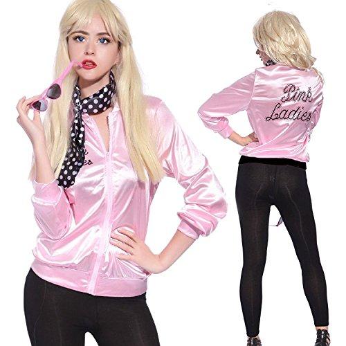 Mythgift Pink Ladies Damen Jacke Strass Party Kostüm 1950er Jahre Kostüm mit Schal- Size (Girl Deluxe Saloon Kostüme)