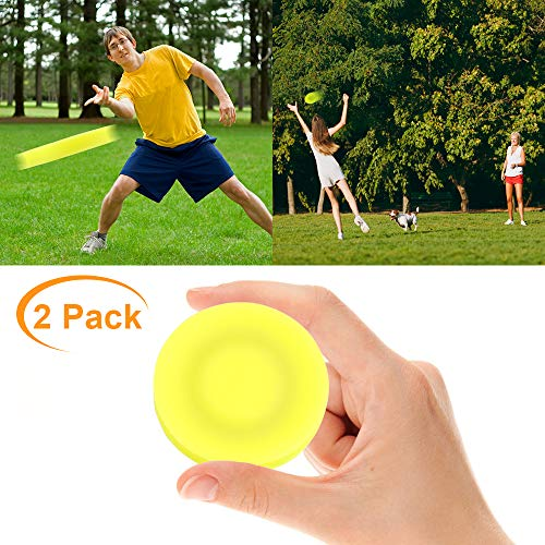 VZATT Mini Frisbee, 2019 Neueste Mini Wurfscheiben Flexible Weiche Rotation Mini Flying Disc fliegt über 60 Meter weit Für Eltern Kind Holiday Outdoor Sport Spielzeug - 2 Stücke (Gelb)