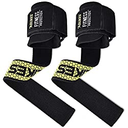 AOLIKES Pulling Aids with Wrist Bandage Power Grips Pull-Up Bars Weight Lifting Straps Wrist Wraps for Men Women Weight Training Bodybuilding Fitness Weightlifting