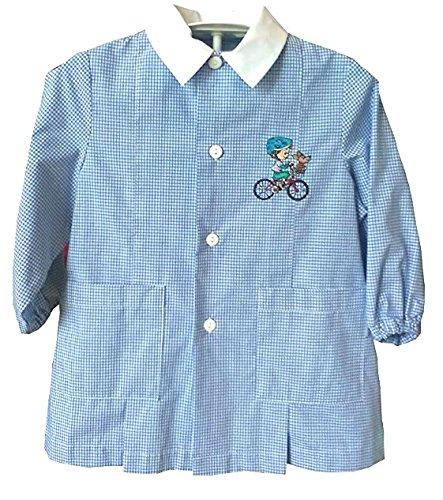 Grembiule asilo siggy bicicletta bimbo cane blu scuola infanzia 3 anni altezza 98cm spalla 29cm bottoni