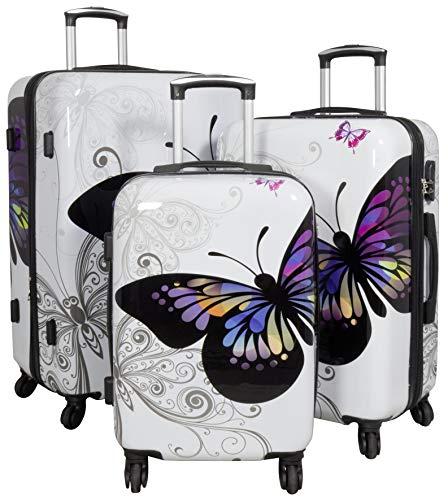Trendyshop365 Weißes Hartschalen Koffer-Set 3-teilig Motiv Schmetterling Bedruckt - 4 Rollen Butterfly
