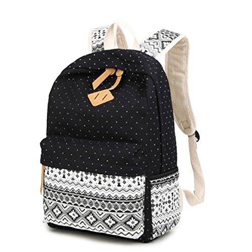 Honeymall Fashion Mädchen Polkapunkten Schulrucksack Damen Canvas Rucksack Teenager Schultasche Daypacks(Schwarz)