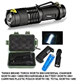 THINK3 Brand Cree Q5 Zoomable 3 mode Torch Combo With Charger and 14500 Rechargeble Battery and Attractive Plastic Carrying Pouch for Trekking, camping and hunting.