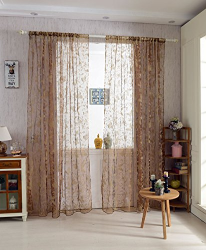 Generic 100*200cm Butterfly Window Voile Curtain Sheer Tulle Drape Valance Coffee