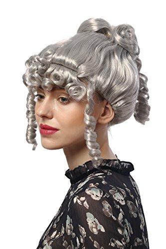 68A Perücke Damen Karneval Halloween Barock Biedermeier Romantik Renaissance Grau Silbergrau Korkenzieherlocken ()