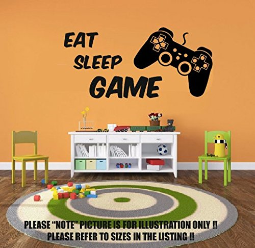Price comparison product image Eat Sleep Game Vinyl Wall Art Stickers, Gamer Xbox ps3 Bedroom Boys Girls Decal 1 (550mm x 270mm)