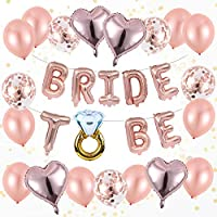 OleOletOy Hen Party Accessories - 20 Pieces Rose Gold Ballon Set with A Straw - Pink Confetti Balloons for Bachelorette Party Decorations- Bridal Shower Kit with Bride-To-Be Balloons Banner