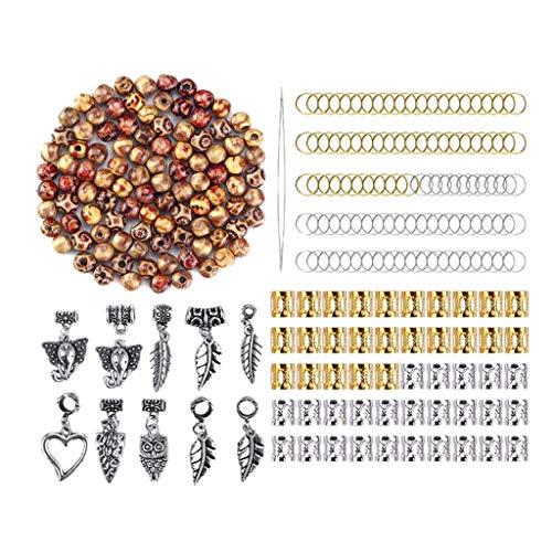 Flechten Haar Weben (Baoblaze 300er Set Haare Rohr Perlen Dreadlocks Perlen Metallperlen Holzperlen Haar Flechten Haar Dekoration Zubehör)