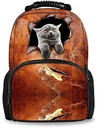 Bigcardesigns School Backpack For Boys Girls Cute Cat Print