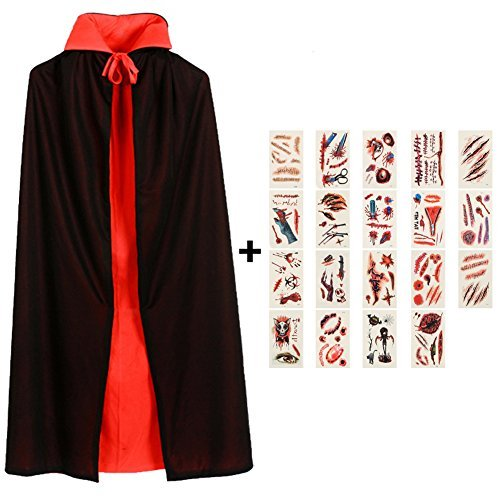 (Erwachsene Tod Umhang, Teufel Kostüm Samt Cape , Cosplay Kleidung von Damen Herren Kindern für Halloween und Karneval Party,Schwarze+Rot Reversible Double-deck 140cm,mit 19 Pcs Temporäre Tattoos)