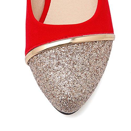 AllhqFashion Damen Ziehen Auf Pu Leder Gemischte Farbe Niedriger Absatz Pumps Schuhe Rot