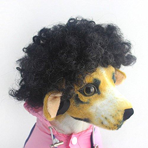 efanr Pet Kopfschmuck Perücke Funny Hund Katze blond kurz Perücken syethetic Haar Cosplay Kostüme Pflege Zubehör Fancy Kleid bis lockiges Haar (3 Kostüme Kit Men In Black)