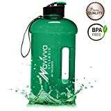 NAVIVVA SPLENDID Water Jug, Tritan WaterFlasche 2L, Große Water Bottle 2,2L, TrinkFlasche, WaterKanister, SportFlasche - BPA Frei und Spülmaschinenfest, 100% Auslaufsicher, Transparent - perfekt für Crossfit, Bodybuilding, Kampfsport, deine Arbeit & deinen Alltag (Green)