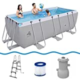 Jilong Swimming Pool Set Passaat Grey 400x200x99 cm Stahlrahmen Schwimmbecken mit Pumpe & Poolleiter