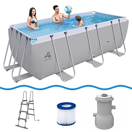 JILONG Pool Set Passaat Grey 400x200x99 cm de Marco de Acero con Bomba y Escalera de Piscina