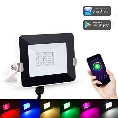 LOHAS Smart Kleine LED-Flutlicht, WLAN-Leuchten, Mehrfarben(2000k-9000k), 8 Modi Wasserdicht(IP63) Farbwechsel Indoor/Outdoor Sicherheitsleuchten, 10W=100W Smart Spot Lighting, Dimmbar über App (Kleine Led-leuchten)