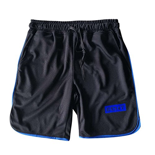 JYJM Männer Sport Training Bodybuilding Sommer Shorts Workout Fitness Gym Kurze Schwimmhose(Blau Size:L2)