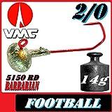 Adrenalin-Fishing VMC Jighaken Jigkopf Football Eierkopf Größe 2/0 14g 10 Stück im Set
