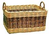 2Tone cesta de mimbre rectangular-tamaño grande-Leña o almacenamiento