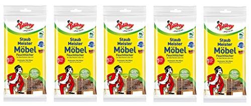 Reinigungstücher-pack (Poliboy - Staubmeister Möbel Feuchttücher - speziell für Holzoberflächen entwickelte Reinigungstücher - 5er Pack - 5x24 Tücher - Made in Germany)