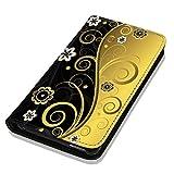 Hülle P8 Lite Hülle Huawei P8 Lite Schutzhülle Handyhülle Flip Cover Case Huawei P8 Lite (OM1073 Abstract Schwarz Gold)