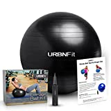 URBNFit Exercise Ball (65 Cm) For Stability & Yoga - Workout Guide Incuded (Black)