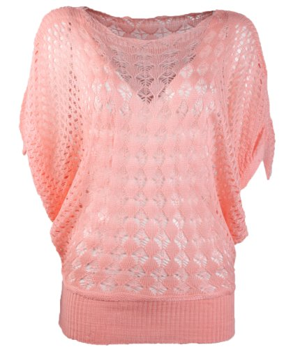 Hengsong Half Batwing Sleeve Jumper Sweater Hollow Pullover Loose Knit Tops Ladies (Pink-654682)