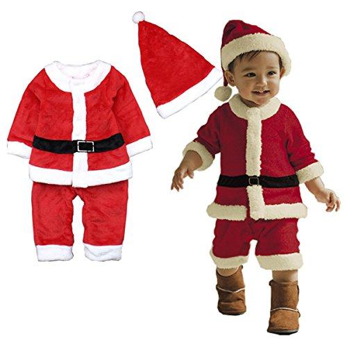 Baby Baumwolle Kinderbekleidung Softshell Weihnachten Strampelhöschen Lange Ärmel Tops + Plüschanzug Hosen + Hut Weich Rot Outfit Set Kostüm, 80cm/6–12Monate (Glücksbärchi Kostüme Für Kinder)