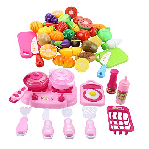 Tocone 41 Piezas Alimentos de Juguete Cortar Frutas Verduras Cocina Juguete Temprano Desarrollo Educación Juguete de Corte para Bebé Niños de 3 o más años