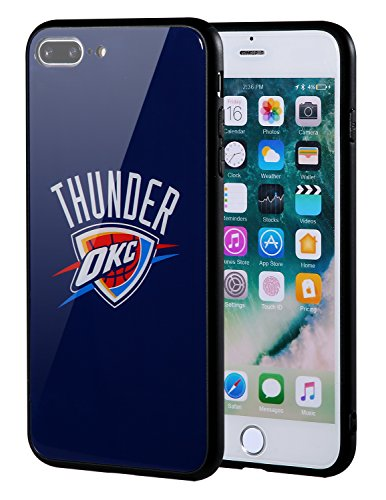 Die Masse iPhone 8Plus Fall, iPhone 7Plus Fall, NBA Team Logo auf gehärtetem Glas Backcover und Soft TPU Rahmen für iPhone 8Plus/7Plus, Oklahoma City Thunder, 5.5 inch Nba-team Iphone