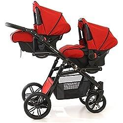 Onyx Tandem Poussette double pour jumeaux avec sièges, nacelles, sièges auto groupe 0et accessoires Rouge
