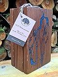 Messerblock massiv aus Holz, altem Eichenholz, für 4 Messer mit im Dunkeln leuchtenden Ornamenten - unbestückt