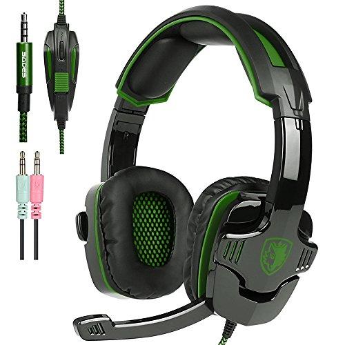 New Xbox uno PS4 Gaming Headset con controllo del volume Mic, Sades SA930 cuffie stereo per PC portatile Mac Tablet Smartphone da AFUNTA-Nero / Verde