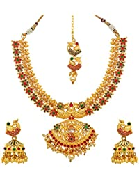 Atasi International Peacock Meenawork Multicolor Bridal Designer Jewellery Set For Women