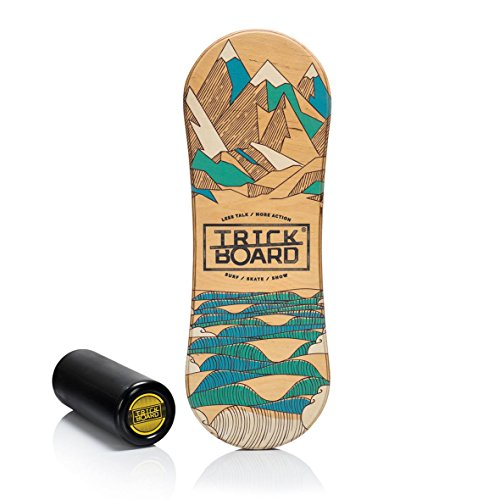 Crosstrainer Trickboard mit Teppich Trick Balance Indo Rollerbone Board HIT THE WAVE Fitness & Jogging