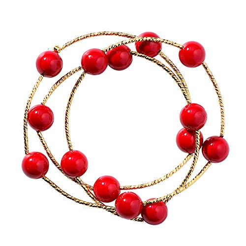 Damen Armbänder Multi-Ring Red Bead Armband Korean Live Kirsche Spongebob Red Pearl Armband