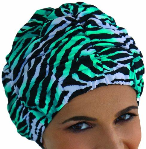 Fashy Damen Duschhaube, smaragd-weiß-schwarz, 3634
