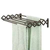 mDesign Metal Wall Mount Accordion Expandable Retractable Clothes Air Drying Rack, Fold Away - 8 Bars for Hanging Garments - Great for Laundry Room, Bathroom, Utility Area - Bronze