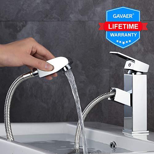 GAVAER Badarmatur, Waschtischarmatur, Elegant Wasserhahn Bad mit Herausziehbarer Profibrause, Kaltes und Heißes Wasser Vorhanden, Messing Verchromt, Lebenslange Garantie.