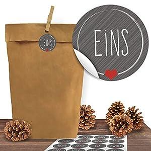 Adventino Adventskalender 24 Kraftpapiertüten mit 24 weihnachtlichen Aufklebern Schick und Grau zum Verschließen als Weihnachts-Geschenktüte zum Basteln und Befüllen