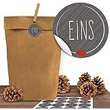 """24 Kraftpapiertüten mit 24 weihnachtlichen Aufklebern """"Schick und Grau"""" zum Verschließen als Weihnachts-Geschenktüte zum Basteln und Befüllen"""