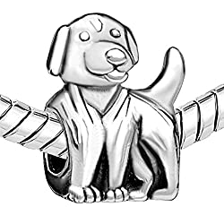 CharmsStory Happy smile Dog Paw Lucky Cute Animal Silver Plated Charm Bead For Bracelets from Pandora Charms